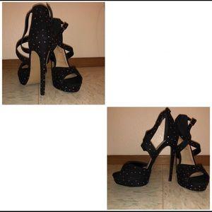 Black Heels with Colorful Rhinestones